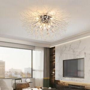 Chrome Dandelion Chandelier LED Ceiling Crystal Starburst Pendant Firework Light