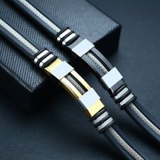 Fashion Mens Stainless Steel Leather Bracelet Wristband Cuff Punk Bangle Jewelry