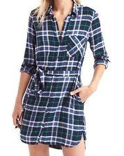 NWT Gap + Pendleton long sleeve shirtdress, Blue Plaid SIZE L  #351523