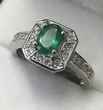 14k Solid white gold Natural Diamond Emerald ring  May Birthstone