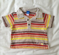 Boys Beige Striped Polo Shirt by Adams Kids - Size: 9-12 months