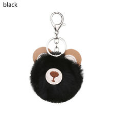 PomPom Bag Charm Rings Pendant Doll Keychain Bear head Fur Ball Keyring