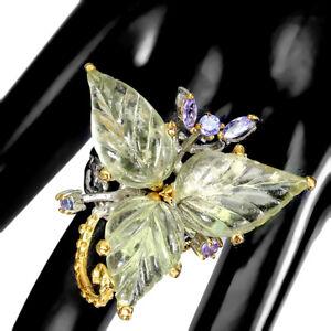 Handmade Leaf Carvings Amethyst 20x13mm Tanzanite 925 Sterling Silver Ring 9