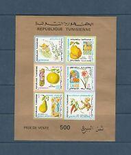 Tunisie  bloc  flore  fruit  folklore  de 1971  num: 6  non  dentelé   **