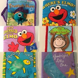 Baby Soft Cloth Fabric Book Choice of Titles Touch and Feel Elmo Get Dressed