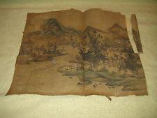 Antique Japanese Painting On Silk-Village & Mountain Scene-Very Old