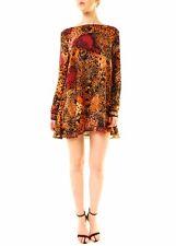 One Teaspoon Women's Rust Manic Cheetah Dress Size L Multi RRP $149 BCF612