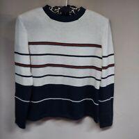 Vintage SJK St. John Women's Black Ivory Striped Knit Pullover Sweater Size 6