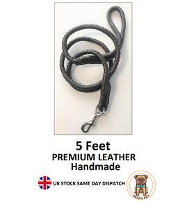 Premium Quality Real Leather Handmade Braided Dog Lead 5 feet Leash Training