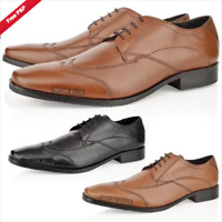 NEW MENS GENUINE LEATHER BLACK TAN FORMAL SMART WORK LACE UP SHOES SIZE 6-12