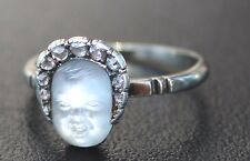 Circa1850s Moonstone Carved Babyface w Rose Cut Diamonds in Bonnet - Gold Ring
