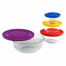 Pyrex Glass Sculpted Mixing Bowls - 8 Pieces