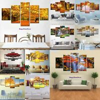 Romantic Yellow Autumn Painting Fall Poster Wall Art Home Decor 5pc Canvas Print