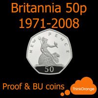 *BRITANNIA 50p Fifty Pence Coins 1971-2008 PROOF & BU Only - select year*