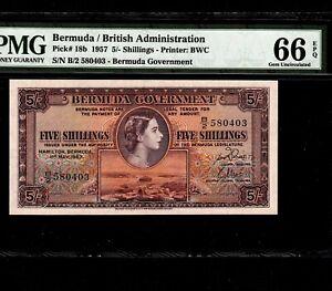 Bermuda 5 Shillings 1957 P-18b * PMG Gem Unc 66 EPQ * Queen Elizabeth *