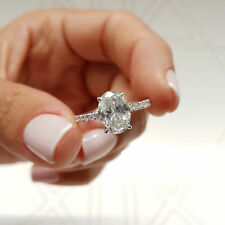 GIA CERTIFIED 1.3 Carat Oval Cut E - VS2 Hidden Halo Diamond Engagement Ring