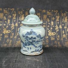 Chinese old porcelain Blue and White Porcelain Figure Cover Jar