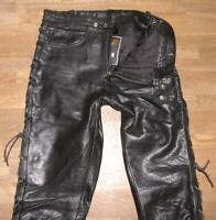 "Fat Men's Lace-Up Leather Jeans/Motorcycle - Trousers Black Approx. W32 ""/ L35 """