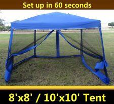 8'x8'/10'x10' Pop Up Canopy Party Tent Gazebo EZ w Net - Blue