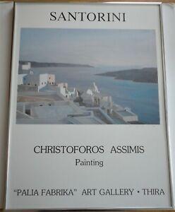 Signed Christoforos Asimis Santorini Palia Fabrika Art Gallery Thira Poster
