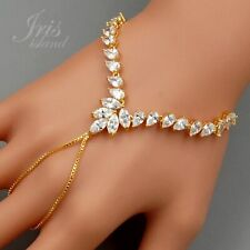 Gold Plated GP Clear Cubic Zirconia CZ Weddings Bracelet Slave Finger Ring 07152