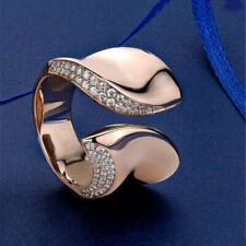 Unique Geometric CZ Cocktail Ring Rose Gold Filled Wedding Engagement Jewelry