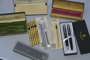Lot of Cross Ballpoint Pens, Boxes, and refills