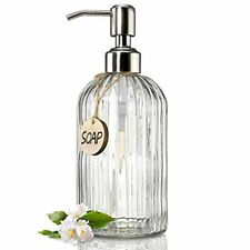 JASAI 18 Oz Clear Glass Soap Dispenser with Rust Proof Stainless Steel Pump, Ref