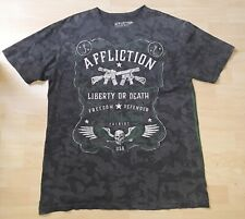 2XL XXL AFFLICTION Gray T-Shirt Liberty or Death Freedom Defender - Patriot USA