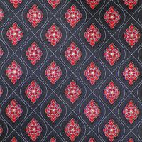 BRIONI Mens Black Red Coral MEDALLIONS Handmade Luxury Silk Tie Italy EUC