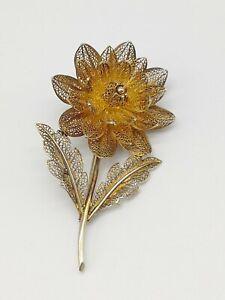 Antique Vintage 800 Silver Filigree Flower Brooch