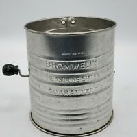Vintage Jacob Bromwell's Metal 5 Cup Measuring Flour Sifter 4 Wire Agitator USA