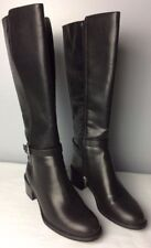 Women's Black Boots Size 7.5 Chaps Knee High Faux Leather Zipper Buckle Heel