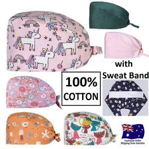 100% Cotton Surgical Scrub Cap Hat Unisex SurgeryTheatre Doctor Nurses Unicorn