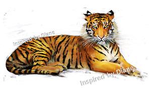 Furniture WATERSLIDE Decal Transfer Image vintage - tiger animal tigers cats/306