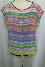 Liz Claiborne 2 Piece Multi Colored Striped Short Sleeve Tank Top Size Small