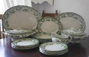 Antique Green & White Dinner Service serves 6