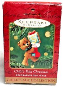 Hallmark Childs Fifth Christmas Keepsake 1996 Teddy Bear Ornament Undated