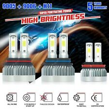 9005+9006+H11 LED Headlight Hi/Low Beam Bulb 6000K Fog Light Kits 5100W 765000LM