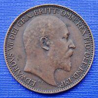 Great Britain Farthing Coin~1906 Edward VII~KM#792~Bronze 2.8g~VF~#460
