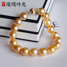 "7.5-8"" Gorgeous AAA+ 9-10mm natural south sea golden baroque pearl bracelet 14k"