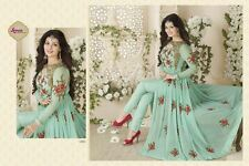 Designer Light Green Georgette With Embroidery And Diamond Work Anarkali Suit