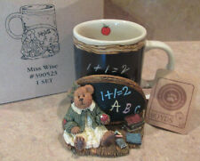 Boyds Bears New Miss Wise Teachers Count Coffee Mug & Coaster Gift Set W/ Bo