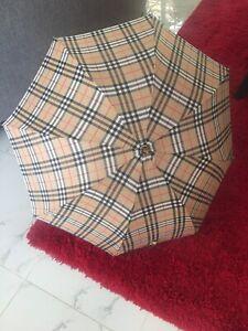 Vintage Burberry's Cane Handle Signature Plaid Check Umbrella