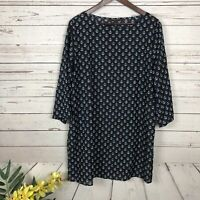 Talbots Sheer Navy Blue Anchor Tunic Top Cover Up Dress Women's Size Large