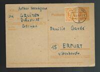 1946 Gruiten Erfurt Thuringia Germany AM Post Postcard Cover