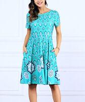 R&B Teal Floral Short-Sleeve Empire-Waist Dress SIZE 1X NEW