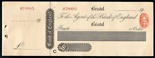 More details for bank of england, bristol branch, 19[15], unused cheque with counterfoil.