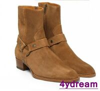 New Mens Pointed Toe Leather Suede Buckle Chelsea Boots Ankle Cowboy Boots Shoes