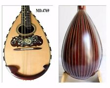 Floral Inlaid Classical Bowl Back 8 Strings Solid Wood Mandolin-Hard Case MD4769